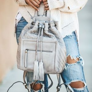 Handbags - Grey Woven Backpack With Tassel - Leather Like